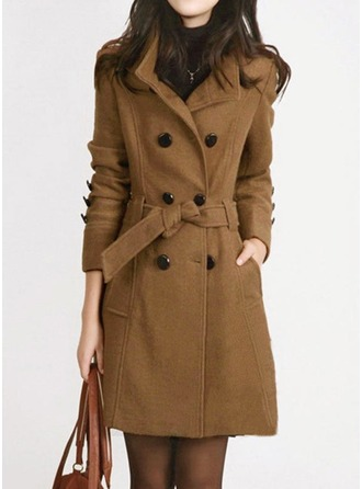 Blends Long Sleeves Plain Slim Fit Coats