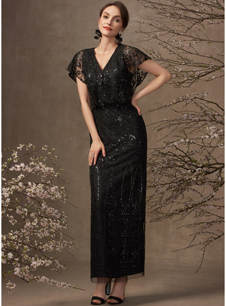 Sheath/Column V-neck Ankle-Length Lace Cocktail Dress With Sequins