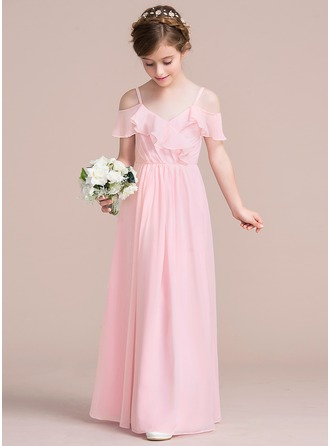 A-Line/Princess V-neck Floor-Length Chiffon Junior Bridesmaid Dress With Cascading Ruffles