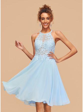A-Line Scoop Neck Knee-Length Chiffon Homecoming Dress With Lace Beading Sequins