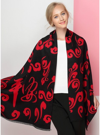 Geometric Print Oversized/Shawls Artificial Wool Scarf