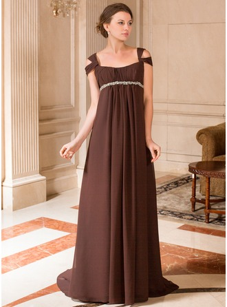 A-Line/Princess Off-the-Shoulder Sweep Train Chiffon Maternity Bridesmaid Dress With Ruffle Beading