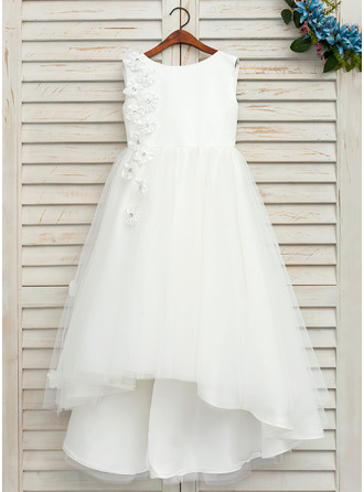Asymmetrical Flower Girl Dress - Satin Tulle Sleeveless Scoop Neck With Bow(s)