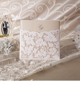 Personalized Floral Style Wrap & Pocket Invitation Cards With Beads