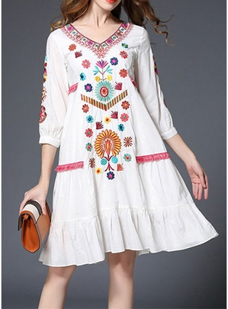 Cotton Blends With Embroidery Knee Length Dress