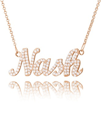[Free Shipping]Personalized 18k Rose Gold Plated Silver Plate