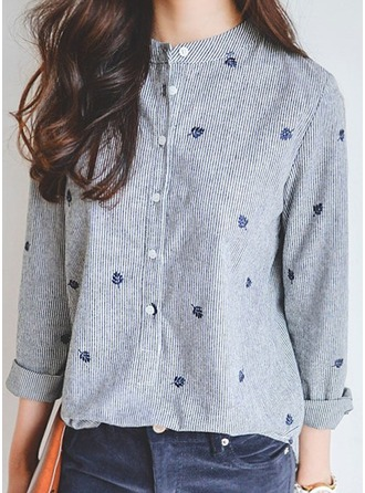 Print Long Sleeves Cotton Blends Round Neck Casual Blouses Blouses