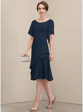 Round Neck Short Sleeves Midi Dresses