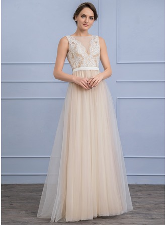 A-Line/Princess Scoop Neck Floor-Length Tulle Lace Wedding Dress With Beading Sequins