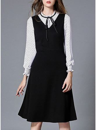 Polyester With Bowknot/Stitching/Print/Ruffles Knee Length Dress