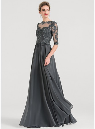Scoop Neck Floor-Length Chiffon Evening Dress With Beading