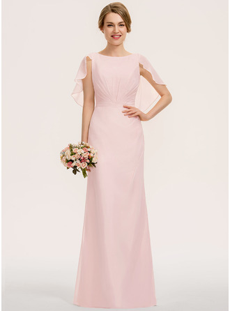 Scoop Neck Floor-Length Chiffon Bridesmaid Dress With Cascading Ruffles