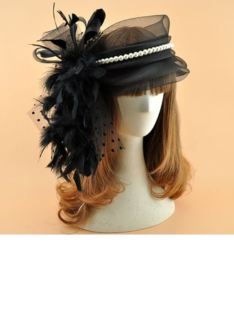Dames Style Vintage Organza avec Feather/De faux pearl Chapeaux de type fascinator