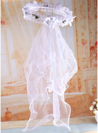 Tulle/Lace With Imitation Pearls/Flower Flower Girl/Communion Veils