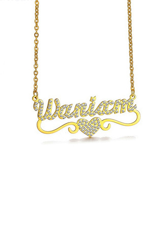 Custom 18k Gold Plated Heart Name Name Necklace Pendant Necklace With Heart -
