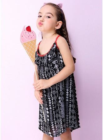 A-Line/Princess Short/Mini Flower Girl Dress - Polyester Sleeveless Halter