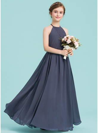 Scoop Neck Floor-Length Chiffon Junior Bridesmaid Dress With Ruffle