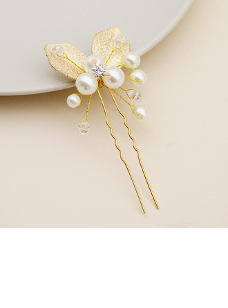 Ladies Stylish Alloy Hairpins With Rhinestone/Venetian Pearl
