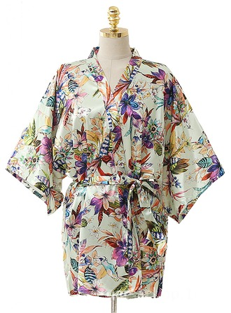 Bride Bridesmaid Polyester With Short Floral Robes Kimono Robes