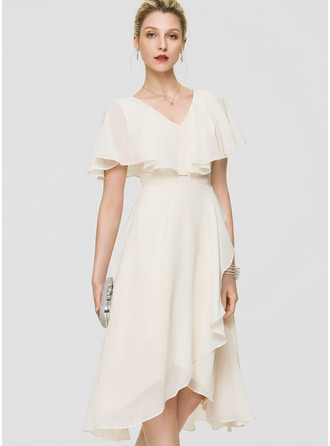 V-neck Asymmetrical Chiffon Cocktail Dress With Bow(s) Cascading Ruffles
