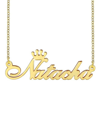 Custom 18k Gold Plated Name Necklace With Crown -