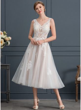 V-neck Tea-Length Tulle Wedding Dress