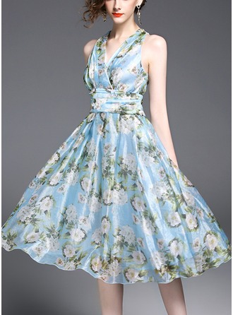 Organza With Print/Crumple Knee Length Dress