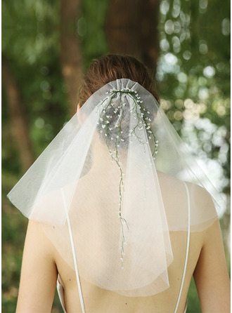 Two-tier Cut Edge Shoulder Veils With Beading/Rhinestones