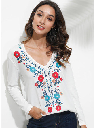 Long Sleeves Polyester V Neck T-shirt Blouses
