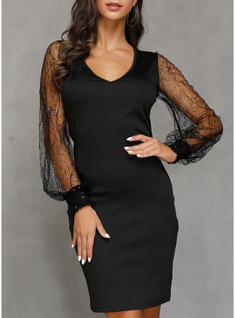 Polyester With Lace/Solid/Slit Above Knee Dress