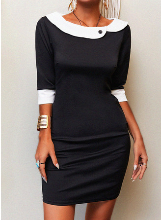 Color Block Bodycon Peter Pan Collar 1/2 Sleeves Midi Elegant Pencil Dresses