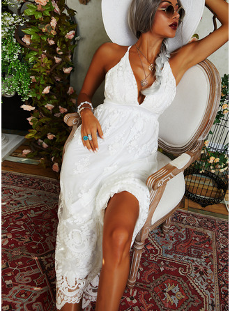 Lace Solid A-line Spaghetti Straps Sleeveless Maxi Party Sexy Skater Type Dresses