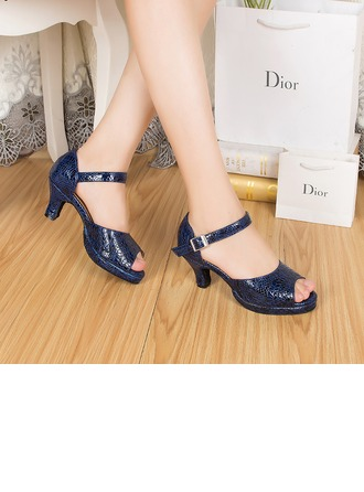 Women's Real Leather Heels Sandals Latin Dance Shoes
