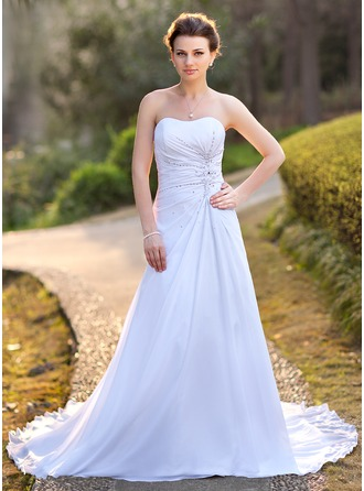 A-Line/Princess Sweetheart Court Train Chiffon Satin Wedding Dress With Ruffle Beading Appliques Lace Sequins