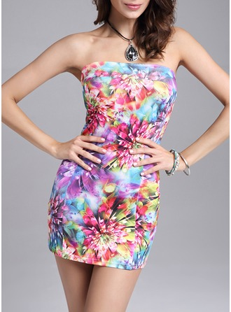 Polyester With Stitching Mini Dress