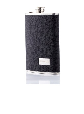 Personalized Deep Black Stainless Steel Flask