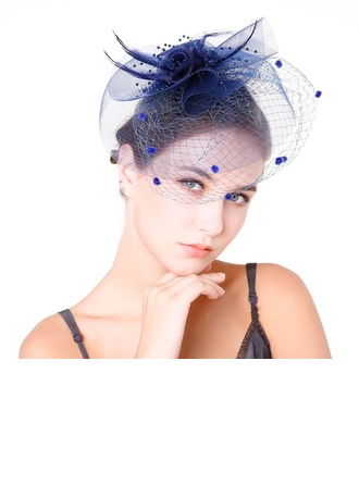 Ladies' Glamourous Feather/Net Yarn With Feather Fascinators