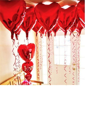 10pcs - 10inch Red Heart Shaped Balloons