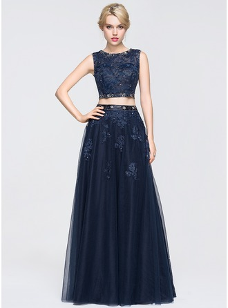 Ball-Gown Scoop Neck Floor-Length Tulle Lace Prom Dress With Beading Sequins
