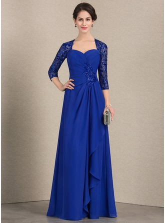 Sweetheart Floor-Length Chiffon Sequined Evening Dress With Cascading Ruffles