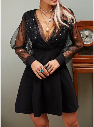 Sequins Solid A-line V-Neck Long Sleeves Midi Little Black Party Skater Dresses