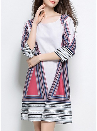 Linen With Print Above Knee Dress