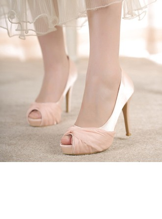 Femmes Satiné Talon stiletto À bout ouvert Plateforme Beach Wedding Shoes