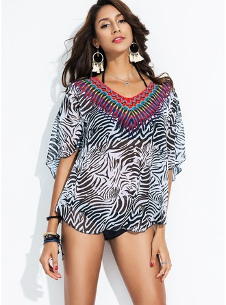 Beautiful Print Polyester Cover-ups Swimsuit