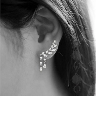 Brillant Alliage Strass avec Strass Dames Boucles d'oreille de mode
