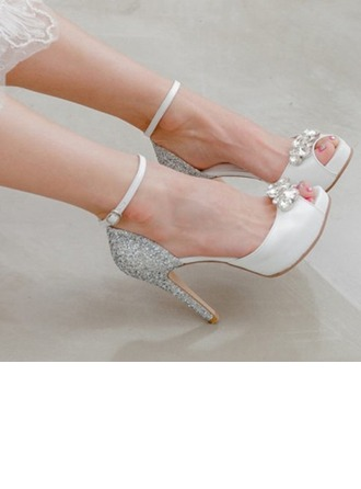 Women's Real Leather Stiletto Heel Peep Toe Platform Sandals Beach Wedding Shoes With Rhinestone Sparkling Glitter
