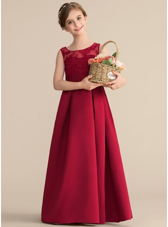 Scoop Neck Floor-Length Satin Lace Junior Bridesmaid Dress With Ruffle Bow(s)