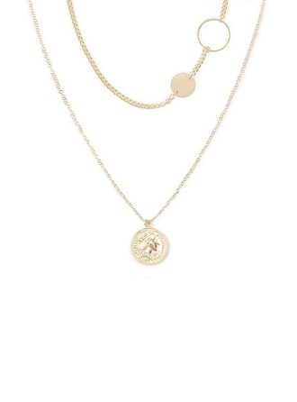 Silver Plate Circle Pendant Necklace Charm Necklace For Women For Girlfriend
