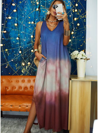 Tie Dye Shift V-Neck Sleeveless Maxi Casual Vacation Dresses