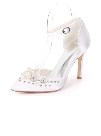 Women's Silk Like Satin Stiletto Heel Pumps With Pearl Rivet